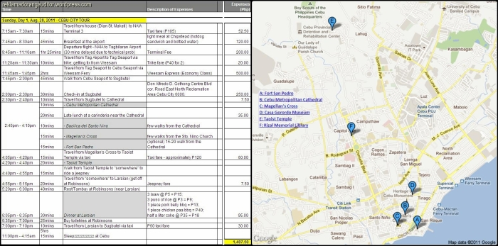 Cebu Itinerary 2011 and Site Map